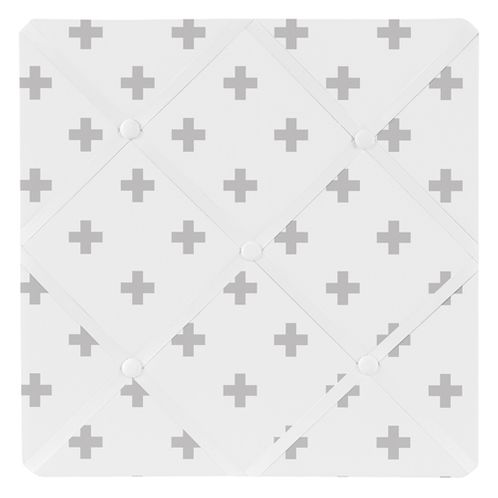 Grey and White Swiss Cross Fabric Memory/Memo Photo Bulletin Board for Woodsy Collection by Sweet Jojo Designs - Click to enlarge