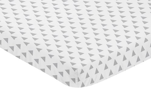 Grey and White Triangle Baby Fitted Mini Portable Crib Sheet for Earth and Sky Collection by Sweet Jojo Designs - Click to enlarge