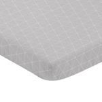 Grey and White Triangle Baby Fitted Mini Portable Crib Sheet for Mountains Collection by Sweet Jojo Designs