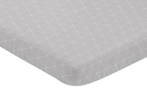 Grey and White Triangle Baby Fitted Mini Portable Crib Sheet for Mountains Collection by Sweet Jojo Designs - Click to enlarge