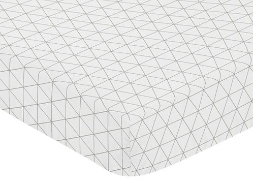Grey and White Triangle Baby or Toddler Fitted Crib Sheet for Mod Jungle Collection by Sweet Jojo Designs - Click to enlarge
