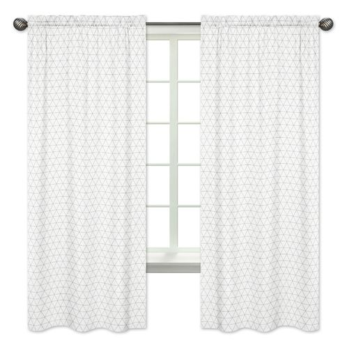 Grey and White Triangle Window Treatment Panels Curtains for Mod Jungle Collection by Sweet Jojo Designs - Set of 2 - Click to enlarge