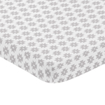 Grey and White Tribal Geometric Baby Fitted Mini Portable Crib Sheet for Feather Collection by Sweet Jojo Designs