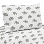 Grey and White Twin Sheet Set for Blush Pink Watercolor Elephant Safari Collection by Sweet Jojo Designs - 3 piece set