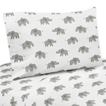 Grey and White Twin Sheet Set for Mint Watercolor Elephant Safari Collection by Sweet Jojo Designs - 3 piece set
