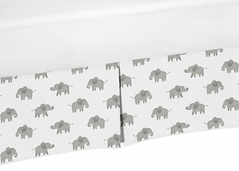 Grey and White Unisex Pleated Baby Crib Bed Skirt Dust Ruffle for Watercolor Elephant Safari Collection by Sweet Jojo Designs