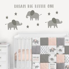 Elephant Large Peel and Stick Wall Decal Stickers Art Nursery Decor Mural by Sweet Jojo Designs - Set of 4 Sheets - Gray and White Jungle Safari Stars Dream Big Little One for Grey and Pink Collection