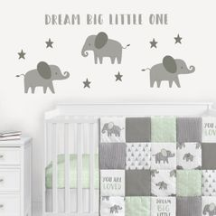 Elephant Large Peel and Stick Wall Decal Stickers Art Nursery Decor Mural by Sweet Jojo Designs - Set of 4 Sheets - Gray and White Jungle Safari Stars Dream Big Little One for Grey and Mint Collection
