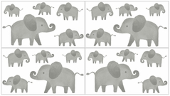 Grey and White Peel and Stick Wall Decal Stickers Art Nursery Decor for Mint Watercolor Elephant Safari Collection by Sweet Jojo Designs - Set of 4 Sheets