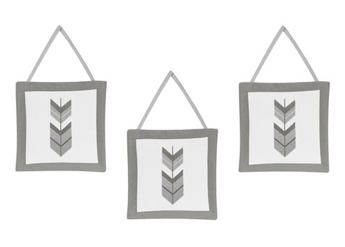 Grey and White Wall Hanging Decor for Woodland Arrow Collection by Sweet Jojo Designs - Set of 3 - Click to enlarge
