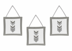 Grey and White Wall Hanging Decor for Woodland Arrow Collection by Sweet Jojo Designs - Set of 3