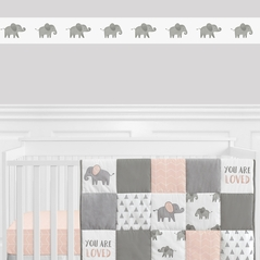 Grey and White Wallpaper Wall Border for Blush Pink Watercolor Elephant Safari Collection by Sweet Jojo Designs