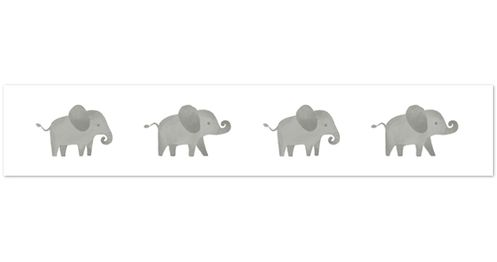Grey and White Wallpaper Wall Border for Mint Watercolor Elephant Safari Collection by Sweet Jojo Designs - Click to enlarge