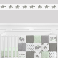 Grey and White Wallpaper Wall Border for Mint Watercolor Elephant Safari Collection by Sweet Jojo Designs