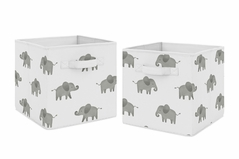 Grey and White Watercolor Elephant Safari Organizer Storage Bins for Collection by Sweet Jojo Designs - Set of 2