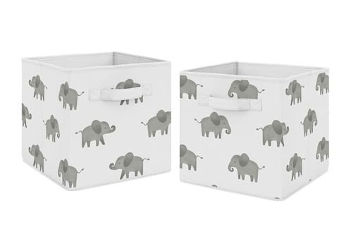 Grey and White Watercolor Elephant Safari Organizer Storage Bins for Collection by Sweet Jojo Designs - Set of 2 - Click to enlarge