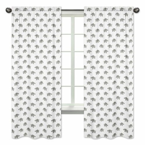 Grey and White Window Treatment Panels Curtains for Mint Watercolor Elephant Safari Collection by Sweet Jojo Designs - Set of 2 - Click to enlarge