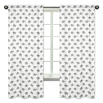 Grey and White Window Treatment Panels Curtains for Mint Watercolor Elephant Safari Collection by Sweet Jojo Designs - Set of 2