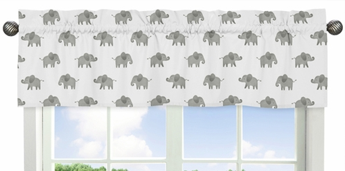 Grey and White Window Treatment Valance for Blush Pink Watercolor Elephant Safari Collection by Sweet Jojo Designs - Click to enlarge