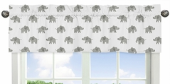 Grey and White Window Treatment Valance for Blush Pink Watercolor Elephant Safari Collection by Sweet Jojo Designs