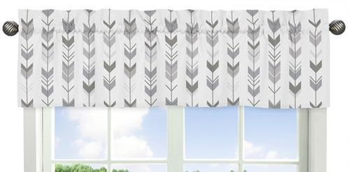Grey and White Window Treatment Valance for Woodland Arrow Collection by Sweet Jojo Designs - Click to enlarge