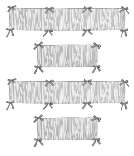 Grey and White Wood Grain Baby Crib Bumper Pad for Woodsy Collection by Sweet Jojo Designs - Click to enlarge