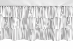 Grey and White Wood Grain Girl Ruffled Tiered Baby Crib Bed Skirt Dust Ruffle for Woodland Animal Collection by Sweet Jojo Designs