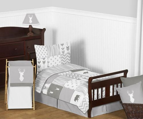 Grey and White Woodsy Deer Boy or Girl Toddler Kid Childrens Bedding Set by Sweet Jojo Designs - 5 pieces Comforter, Sham and Sheets - Click to enlarge