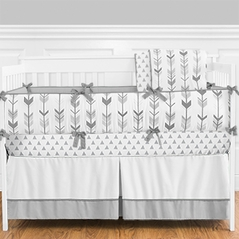Grey and White Woodland Arrow Boy, Girl, Unisex Baby Crib Bedding Set with Bumper by Sweet Jojo Designs - 9 pieces