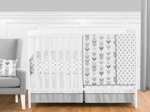 Grey and White Woodland Arrow Boy, Girl, Unisex Baby Crib Bedding Set without Bumper by Sweet Jojo Designs - 4 pieces - Click to enlarge