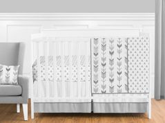 Grey and White Woodland Arrow Boy, Girl, Unisex Baby Crib Bedding Set without Bumper by Sweet Jojo Designs - 4 pieces