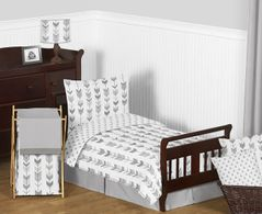 Grey and White Woodland Arrow Boy or Girl Toddler Kid Childrens Bedding Set by Sweet Jojo Designs - 5 pieces Comforter, Sham and Sheets