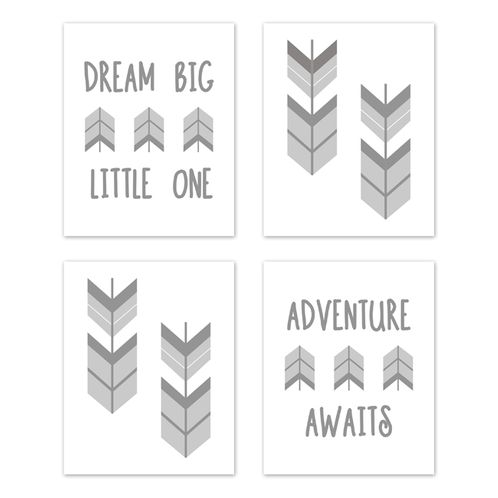 Grey and White Woodland Arrow Wall Art Prints Room Decor for Baby, Nursery, and Kids for Mod Arrow Collection by Sweet Jojo Designs - Set of 4 - Dream Big Little One - Click to enlarge