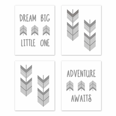 Grey and White Woodland Arrow Wall Art Prints Room Decor for Baby, Nursery, and Kids for Mod Arrow Collection by Sweet Jojo Designs - Set of 4 - Dream Big Little One