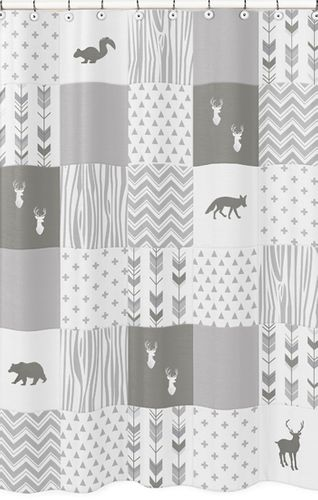 Grey and White Woodland Bathroom Fabric Bath Shower Curtain for Woodsy Deer Collection by Sweet Jojo Designs - Click to enlarge