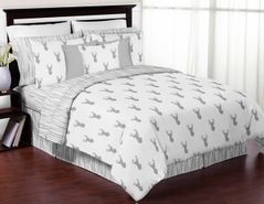 Grey and White Woodland Deer 3pc Boys Full / Queen Bedding Set by Sweet Jojo Designs