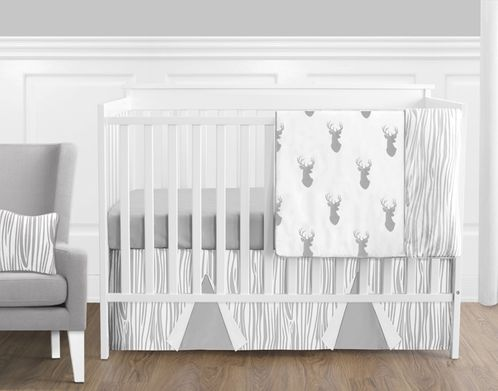 Grey and White Woodland Deer Baby Bedding - 11pc Boys Crib Set by Sweet Jojo Designs - Click to enlarge