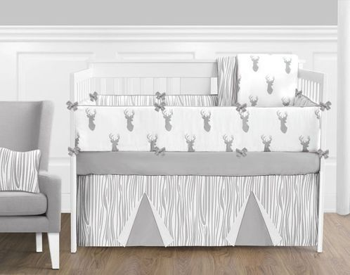 Grey and White Woodland Deer Baby Bedding 9 Piece Boys Crib Set - Click to enlarge