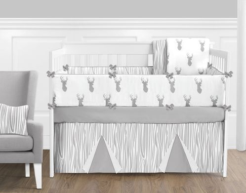 Grey And White Woodland Deer Baby Bedding 9 Piece Boys