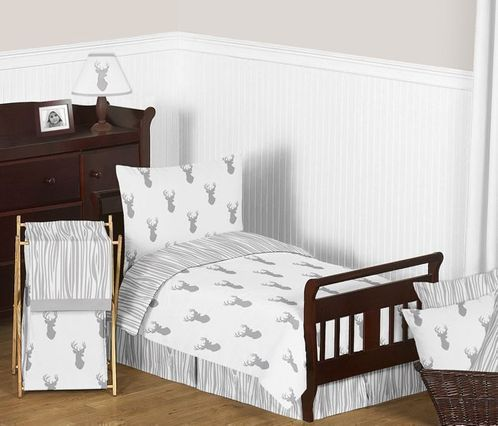 Grey and White Woodland Deer Toddler Boy Bedding 5pc Set by Sweet Jojo Designs - Click to enlarge
