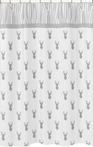 Grey and White Woodland Deer Childrens Bathroom Fabric Bath Shower Curtain by Sweet Jojo Designs - Click to enlarge