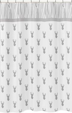 Grey and White Woodland Deer Childrens Bathroom Fabric Bath Shower Curtain by Sweet Jojo Designs