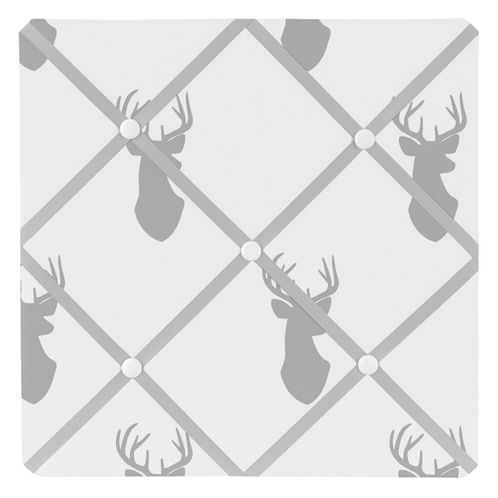 Grey and White Woodland Deer Fabric Memory/Memo Photo Bulletin Board by Sweet Jojo Designs - Click to enlarge