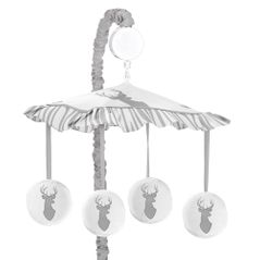 Grey and White Woodland Deer Musical Baby Crib Mobile by Sweet Jojo Designs
