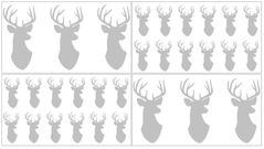 Grey and White Woodland Deer Peel and Stick Wall Decal Stickers Art Nursery Decor by Sweet Jojo Designs - Set of 4 Sheets