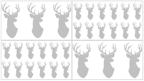 Grey and White Woodland Deer Peel and Stick Wall Decal Stickers Art Nursery Decor by Sweet Jojo Designs - Set of 4 Sheets - Click to enlarge