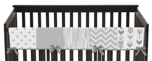Grey and White Woodland Long Front Crib Rail Guard Baby Teething Cover Protector Wrap for Woodsy Collection by Sweet Jojo Designs - Click to enlarge