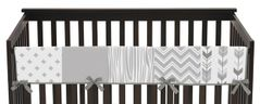 Grey and White Woodland Long Front Crib Rail Guard Baby Teething Cover Protector Wrap for Woodsy Collection by Sweet Jojo Designs