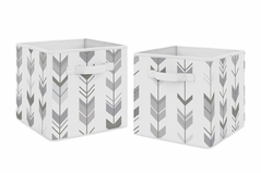 Grey and White Woodland Mod Arrow Organizer Storage Bins for Collection by Sweet Jojo Designs - Set of 2