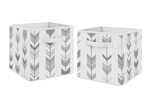 Grey and White Woodland Mod Arrow Organizer Storage Bins for Collection by Sweet Jojo Designs - Set of 2 - Click to enlarge